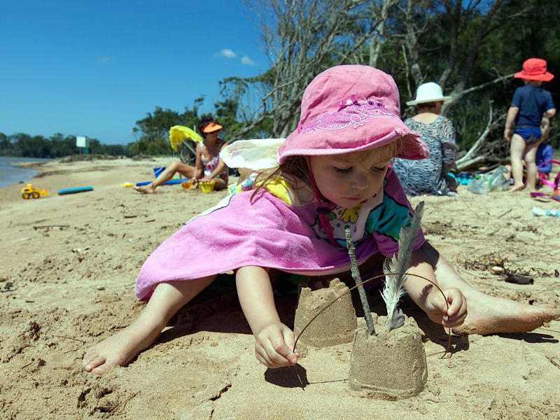 family beach fun at depot beach, Durras Lake