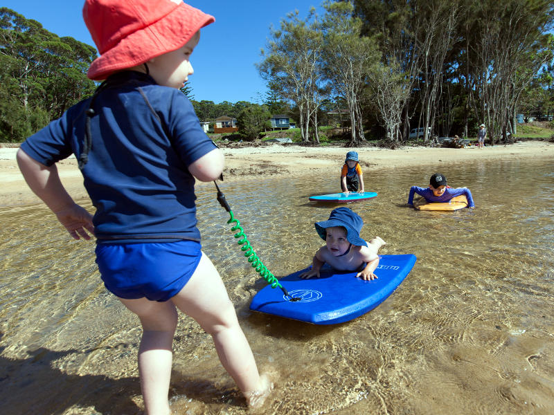 family beach fun at depot beach, Durras Lake, ideal for littlies