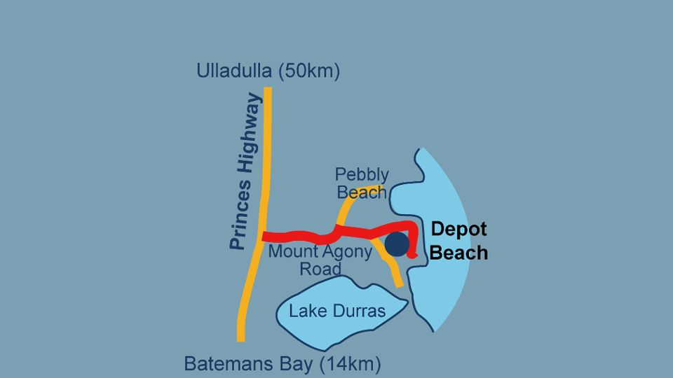 depot beach south coast nsw location